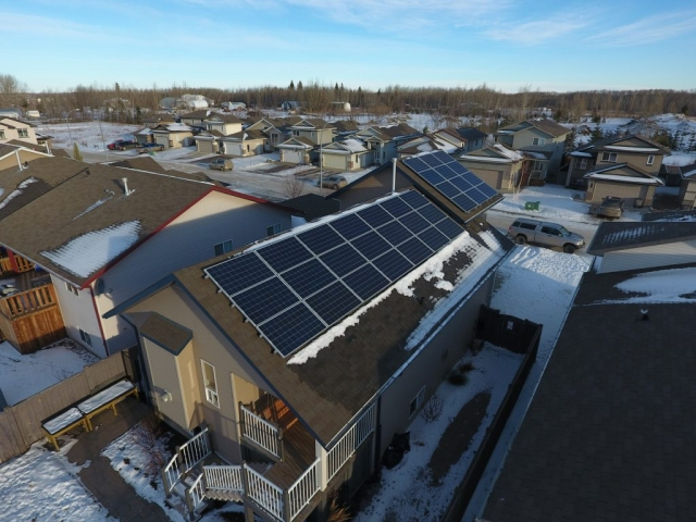 Grand Prairie Solar Panel Installation (roof view)