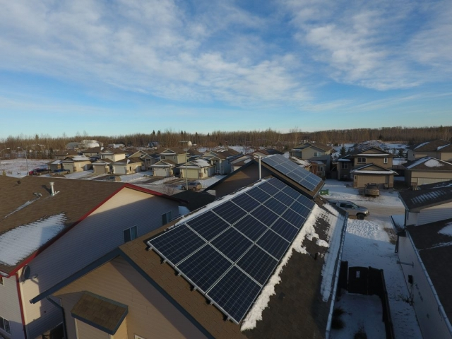 Grand Prairie Solar Panel Installation (rear roof view)